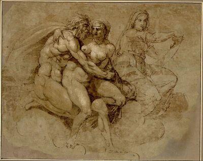 Alter Gott und Göttin. (Erotisches Symplegma auf Wolken; im Hintergrund eine weibliche Gestalt mit einer Schriftrolle in beiden Händen, die an die delphische Sibylle Michelangelos der Sixtina erinnert)