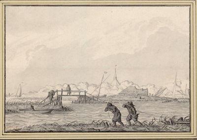 Holländische Kanallandschaft (mit zwei Männern, die vermutlich ein Boot ziehen)