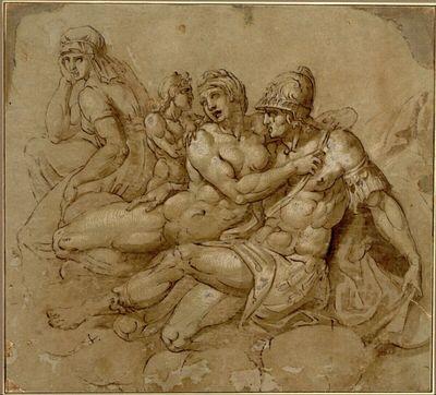 Mars und Venus. Erotisches Symplegma auf Wolken; neben Venus weiter rückwärts steht Amor und sitzt eine weibliche Gestalt, die an die (tiburtinische ?) Sibylle Michelangelos der Sixtina erinnert