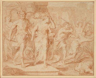 Gemetzel vor einem Tempel, aus dem ein Krieger tritt, der eine Frau am Arm hält (Raub der Kassandra?)