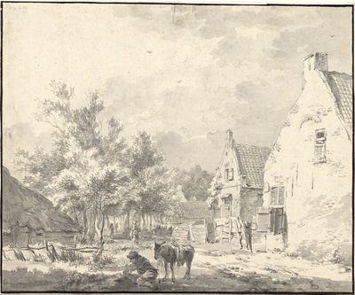 Dorfstraße nahe Haarlem, mit rastendem Eselreiter