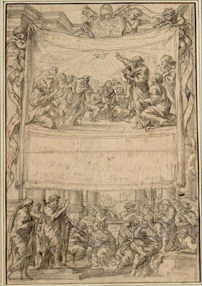 Titelblatt. In zwei Szenen die Apostel Petrus und Paulus predigend; oben das Wappen Papst Alexanders VII.