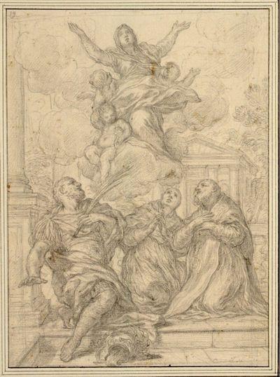 Madonna in Wolken, von drei auf der Erde knienden Heiligen verehrt, unter ihnen links ein antiker Krieger mit Märtyrerpalme, vor antikischer Architektur