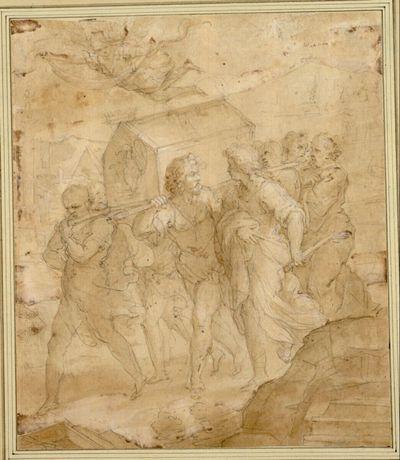 Historische Szene. (Ein Schrein, auf dem eine Krone liegt, wird von mehreren Männern nach links vorne getragen; darüber ein Engel mit einem leeren Spruchband; im Hintergrund eine Stadt)