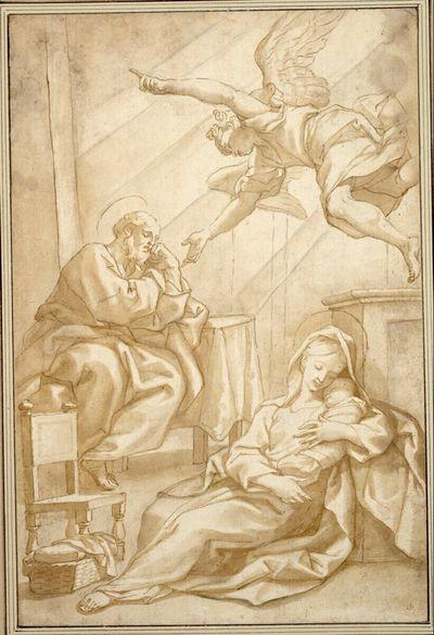Der Traum des heiligen Joseph. (Er sitzt in einem Raum an einem Tisch, den Kopf auf seine Linke gestützt; am Boden vorne sitzt Maria mit dem Kind; von oben herab schwebt ein Engel)