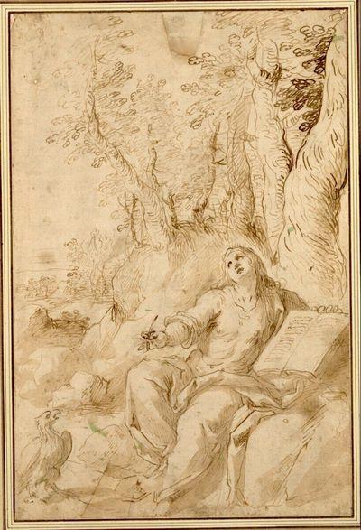 Johannes Evangelista auf Patmos. (Der Evangelist sitzt unter einem Baum auf einem Felsblock und blickt nach oben, Feder und Buch in den Händen haltend; neben ihm der Vogel)