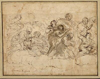 Gruppe aus einer apotheotischen Darstellung. (Männer und Frauen, teils stehend, teils auf Wolken sitzend; links hält ein bärtiger Alter eine Amphore)
