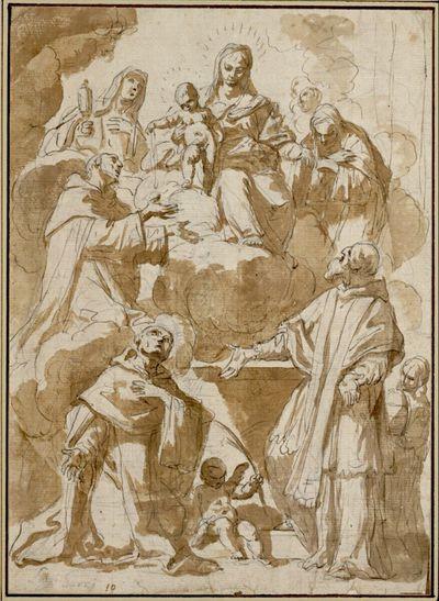 Madonna auf Wolken zwischen der heiligen Klara und einer zweiten Heiligen; das Jesuskind reicht dem heiligen Dominikus einen Rosenkranz; links kniender Märtyrer; rechts stehender Papst und Page mit der Tiara