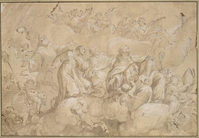 Gruppe aus einer Himmelsglorie. (Verehrende Heilige, darunter Franz von Paula und Thomas von Aquin erkennbar; rechts oben hält eine Gestalt eine Violine; rechts unten eine andere eine Tiara, links ein Putto einen Stab)