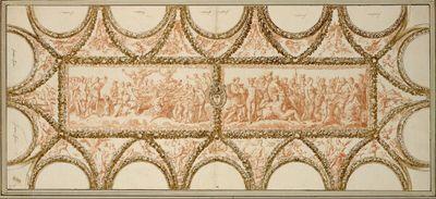 Die Decke der Loggia der Villa Farnesina in Rom, nach Raphaels Fresken zu Apuleius' Märchen von Armor und Psyche