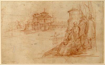 An einem Fluß eine Villa, zu der von rechts eine Steinbrücke führt; vorne rechts am anderen Flußufer vier Figuren neben einem Turmgemäuer; auf dem Fluß eine eislaufende weibliche Figur