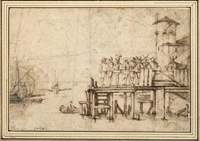 Offiziere und Soldaten auf einem Landungssteg, Blick auf die See mit Schiffen und Booten, rechts der Turm eines Castells