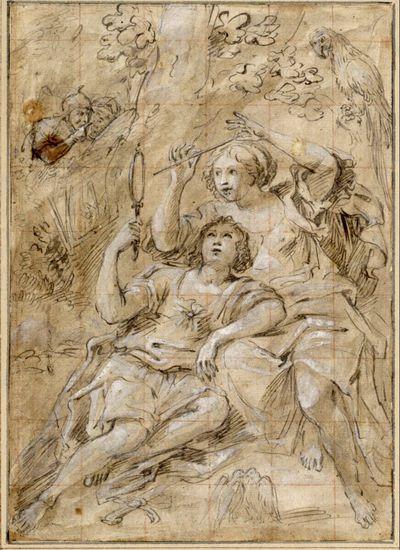 Rinaldo und Armida. (Rinaldo sitzt an Armida gelehnt und hält ihr den Zauberspiegel vor; sie hat einen Pfeil in der Hand; hinter den Bäumen schauen zwei Krieger hervor; rechts oben ein Papagei; unten schnäbelnde Tauben)