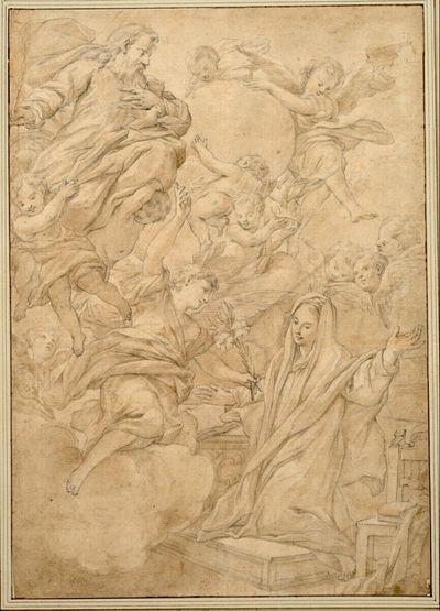Mariä Verkündigung. (Die Madonna kniet neben einem Sessel nach links; über dem Engel Gottvater und Engel, drei von ihnen tragen die Erdkugel)