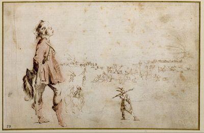 Im Vordergrund stehender junger Mann, seinen Federhut am Rücken haltend; im Hintergrund ein Militärlager mit Fleischhauerei; Weinwagen, Pferde, Soldaten sowie eine Einzelfigur mit einer Keule über der Schulter