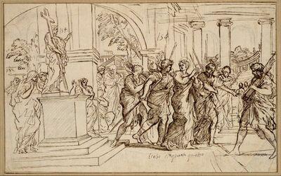 Eine Märtyrerin wird von einer Bildsäule Christi weggeführt