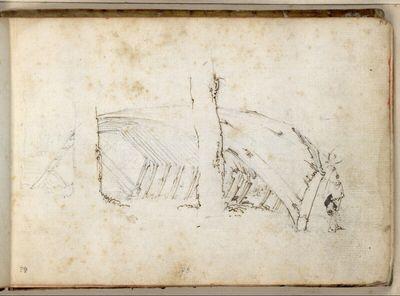 Skizze eines alten Bootes, das gegen Baumstämme gelehnt ist