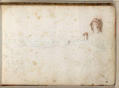 Landschaftsskizze mit überwachsenen Ruinenresten; links vorn ein sitzender Mann mit Hut, der zu zeichnen scheint