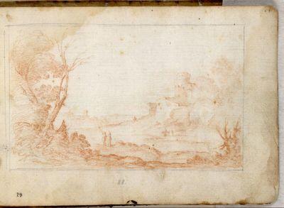 Weite Landschaft mit zwei Figuren und einer Kastellruine rechts im Mittelgrund