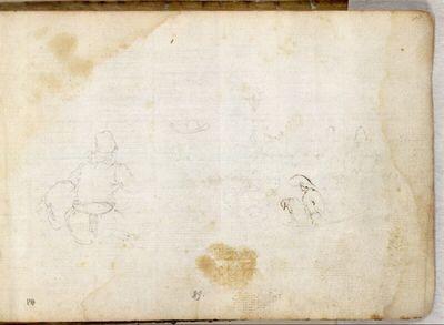 Skizzenblatt sitzender Bauern mit einem in Rückenansicht sitzenden Hund