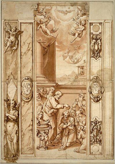 Wanddekoration mit der Taufe des Hauptmanns Cornelius; darüber die Vision von den unreinen Tieren