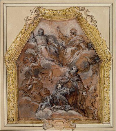 Gottvater und Christus auf Wolken schwebend, die von Engeln getragen werden; darunter eine Nonne und ein Bischof; an den Seiten ausgestellte Umrahmung aus Girlanden und zwei Putten, die sie tragen