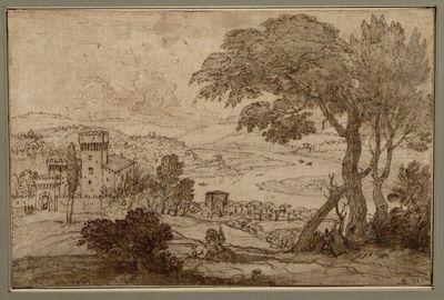 Blick auf eine Schleife des Tibertales mit Kastell nördlich von Rom