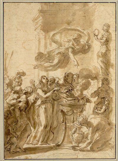 Antike Opferszene. (Ein Mädchen opfert am Altar; ein Genius schwebt herab und weist auf das Opfer; ringsherum zahlreiche Figuren; ein Mann mit einem Krug kniet rechts vorne; hinter ihm eine Statue im Profil nach links mit einem Kranz in der Linken)