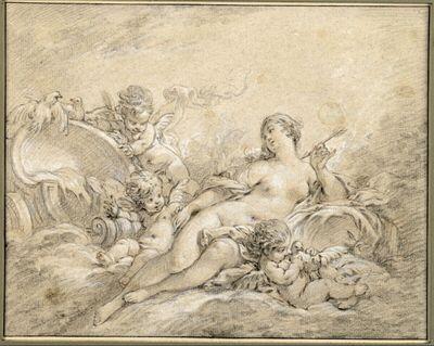 Venus vor ihrem Wagen liegend von Putten umgeben