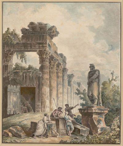 Tempelruine mit der Statue eines gefangenen Barbarenfürsten