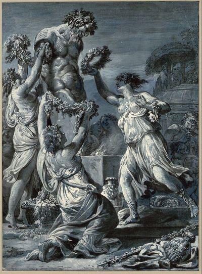Bacchantinnen schmücken die Statue Pans