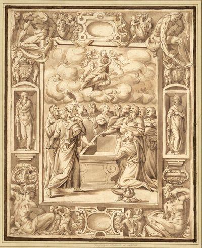 Himmelfahrt Mariae in reichem Rahmen mit Kartuschen und Figuren