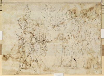 Skizze für einen sitzenden Ahnherrn des Hauses Doria, weitere Figurenskizzen