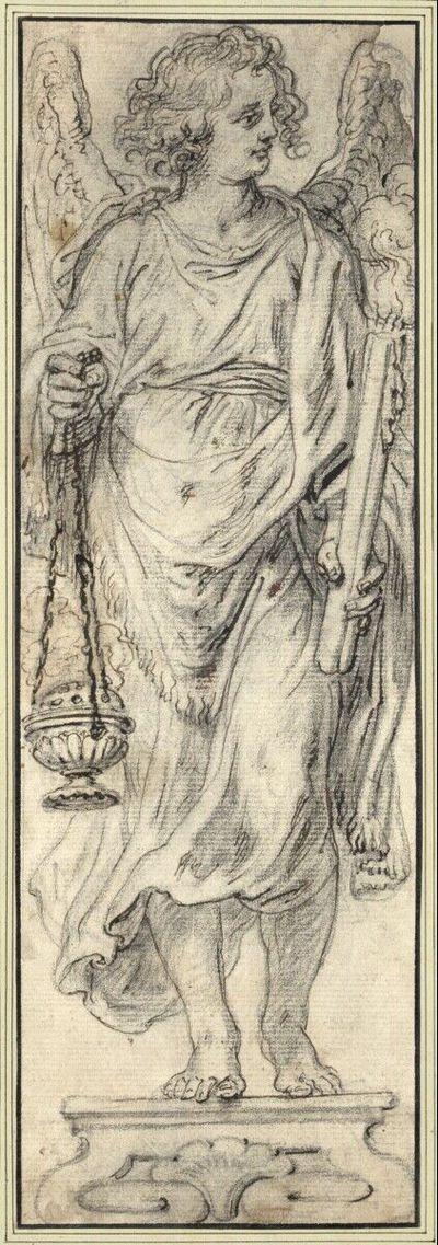 Statue eines Engels mit Weihrauchfaß und Kerzen, nach rechts blickend