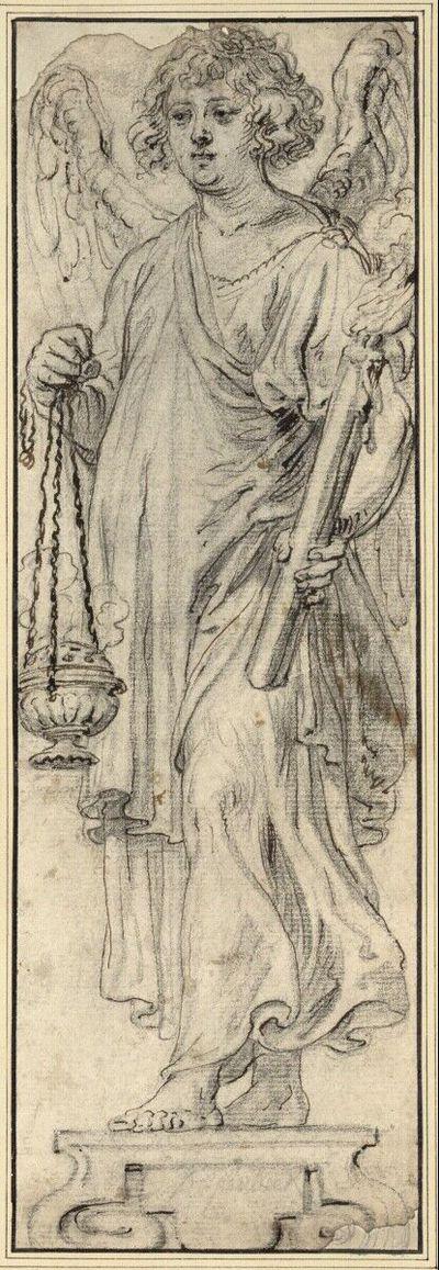 Statue eines Engels mit Weihrauchfaß und Kerzen, nach links gewandt