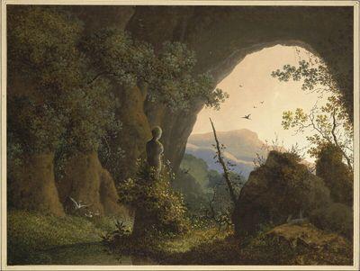 Die Grotte bei Cora mit der berühmten wunderwirkenden Statue des 15.Jahrhunderts ( mit Ausblick auf die umliegende Landschaft )