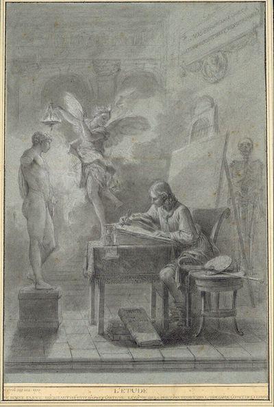 Ein junger Künstler, eine antike Statue zeichnend, die vom Genius der Malerei beleuchtet wird