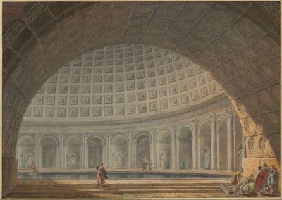 Vue interieure d'un Grand Bain à l'antique orné de Colonnes v. Statues