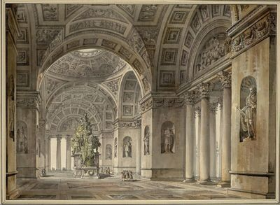 Interieurs d'un Grand Vestibule ornè de Colonnes et Statues et d'un Monument Triomphal