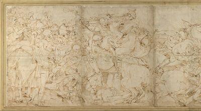 Reiterschlacht mit Fußvolk in antiker Tracht (Fries)