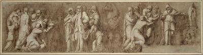 Szene aus dem Niobidenfries. (Links werden von Knienden Gaben an eine Priesterin mit Diadem, begleitet von ihren Dienerinnen, übergeben; rechts übergibt ein Kniender Gaben an einen Priester, der erhöht neben der Statue einer Gottheit steht)