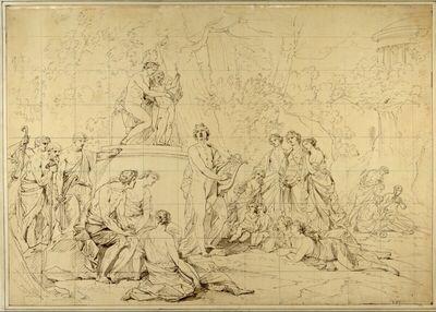 Orphée (...) Apollo adossé au Piedestal dela Statue de Venus charmant les Nymphes et les Bergers des Environs par les sons de sa Lyre