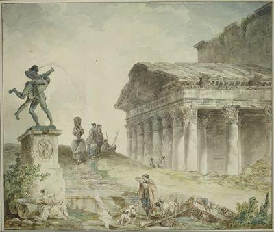 Ansicht des Portikus des Pantheons mit der Statue Herkules und Antheus