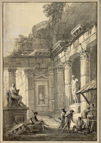 Klassische Säulenarchitektur als Ruine mit Staffagefiguren