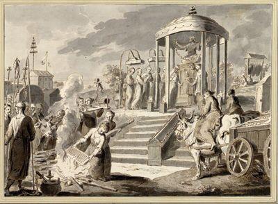 Trauungszeremonie in einem Tempietto unter einer Statue mit gekreuzten Beinen