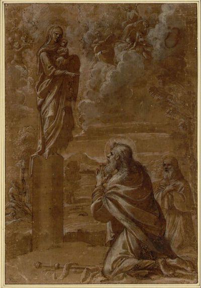 Der heilige Jakobus Major und ein heiliger Eremit knien betend vor einer Statue der Madonna mit Kind auf einer Säule