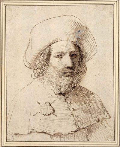 Brustbild eines Pilgers mit großem Hut
