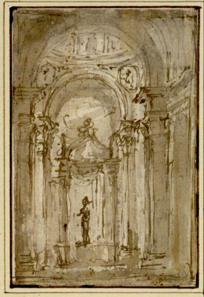 Basilikales Interieur mit einer Statue unter einem Baldachin