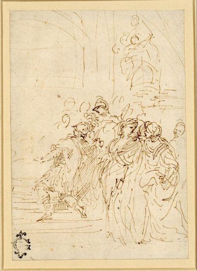 Zwei antik gewandete Krieger im Profil nach links, einer auf einer Stufe kniend, zwei Frauen rechts vorne im Gespräch und weiteres Gefolge in einem Innenraum unter einer Statue