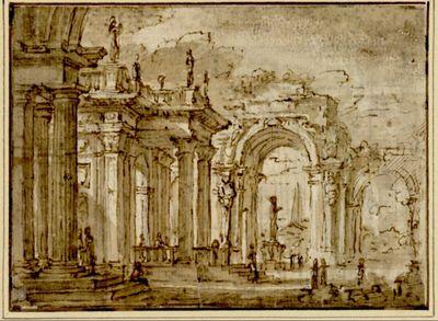 Phantastische Architektur mit Säulen, Arkaden und Durchblicken; vor einer der Arkaden eine Statue auf einem Sockel